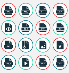document icons set collection of doc xml video vector image