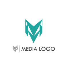 letter m media logo vector image