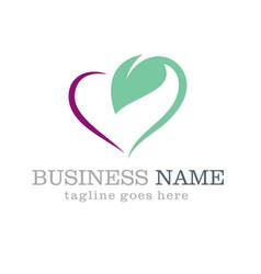 love green leaf logo design vector image vector image