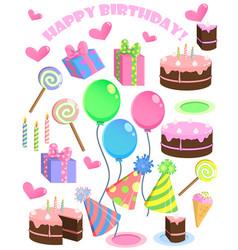set of birthday cartoon party elements vector image