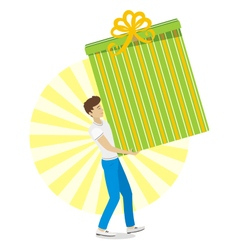 Young men with great gift in hand vector image vector image