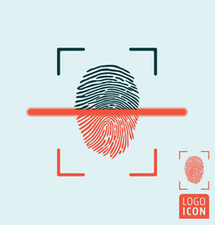 fingerprint scanning icon vector image