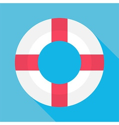 Flat Sea Lifebuoy with Long Shadow vector image