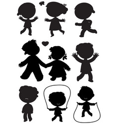 nine children black silhouettes vector image vector image