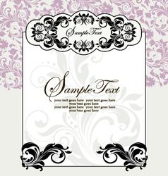 ornate frame on purple floral background vector image