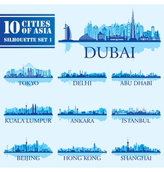 Silhouette city set of Asia 1 vector image vector image