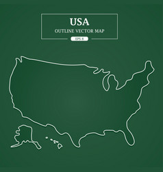 usa map outline border on green background vector image