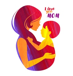 Acrylic beautiful mother silhouette with baby vector image vector image
