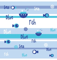 Blue Seamless fish pattern vector image