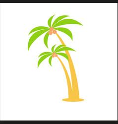 Cartoon flat two palm trees vector