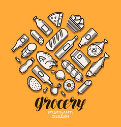 Food and drinks icons set grocery store banner vector