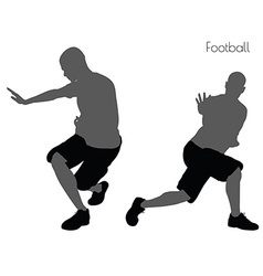 Man in football pose on white background vector