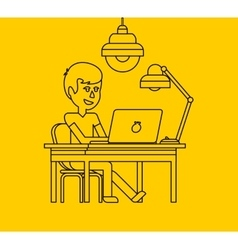 Man Work with Computer Design Flat vector image