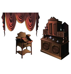 Set of furniture with curtain vector image vector image