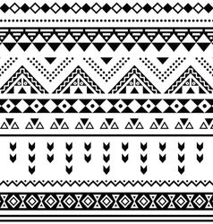 Tibal seamless pattern black aztec print on white vector image