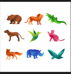 wild animals jungle pets logo silhouette of vector image vector image