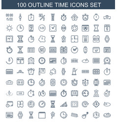 100 time icons vector