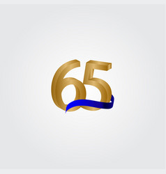 65 years anniversary celebration number gold vector
