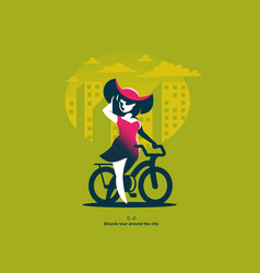 a girl in a hat walks next to a bicycle vector image