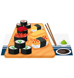 A set of sushi on plate vector