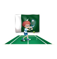 A tennis player in front of the flag of Pakistan vector image