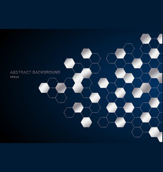 abstract geometric hexagons pattern silver metal vector image