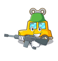 Army character clockwork car for toy children vector