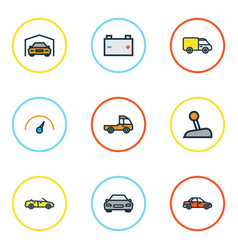 automobile colorful outline icons set collection vector image