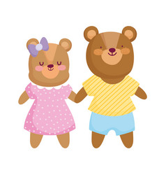 Back to school cute bears kids with clothes vector
