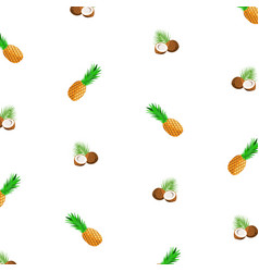 background with ripe pineapple and coconut vector image