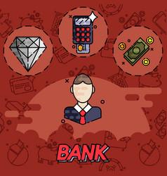 Bank flat icons set vector