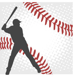 Baseball player silhouette on the abstract vector