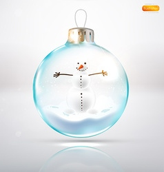 Bauble Background with Snowman vector image