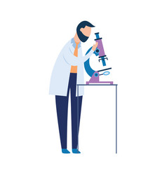 biolaboratory assistant with a microscope vector image