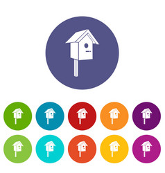birdhouse icons set color vector image