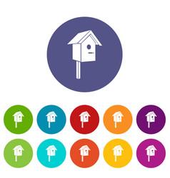birdhouse icons set color vector image