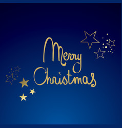 Blue and gold merry christmas vector