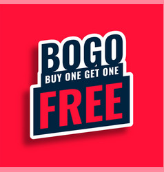 Bogo buy one get one free sale tag sticker design vector