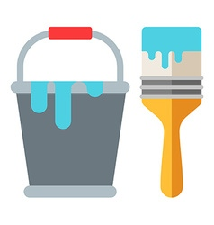 Bucket of paint and brush Flat isolated on white vector
