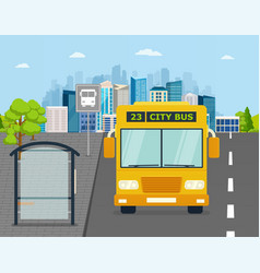 bus at the stop on background of city vector image
