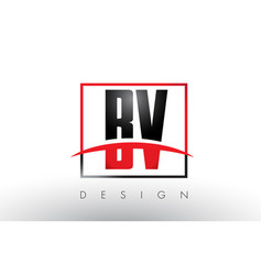 Bv b v logo letters with red and black colors and vector