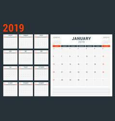 Calendar planner for 2019 year week starts vector