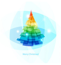 Card merry christmas colorful spruce on light vector