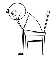 Cartoon depressed or sad man in stress or vector