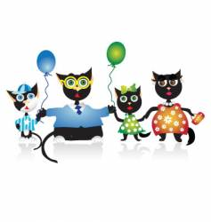 Cartoon family cats vector