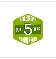 Celebrating 5 year anniversary badge sign and vector image