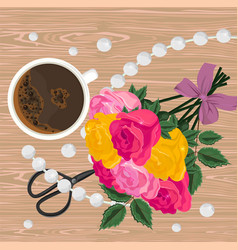 Coffee cup and flower bouquet top view vector