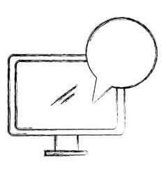 Computer desktop display with speech bubble vector