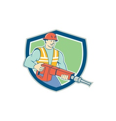 Construction Worker Jackhammer Shield Cartoon vector image