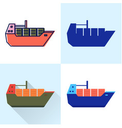 container ship icon set in flat and line styles vector image